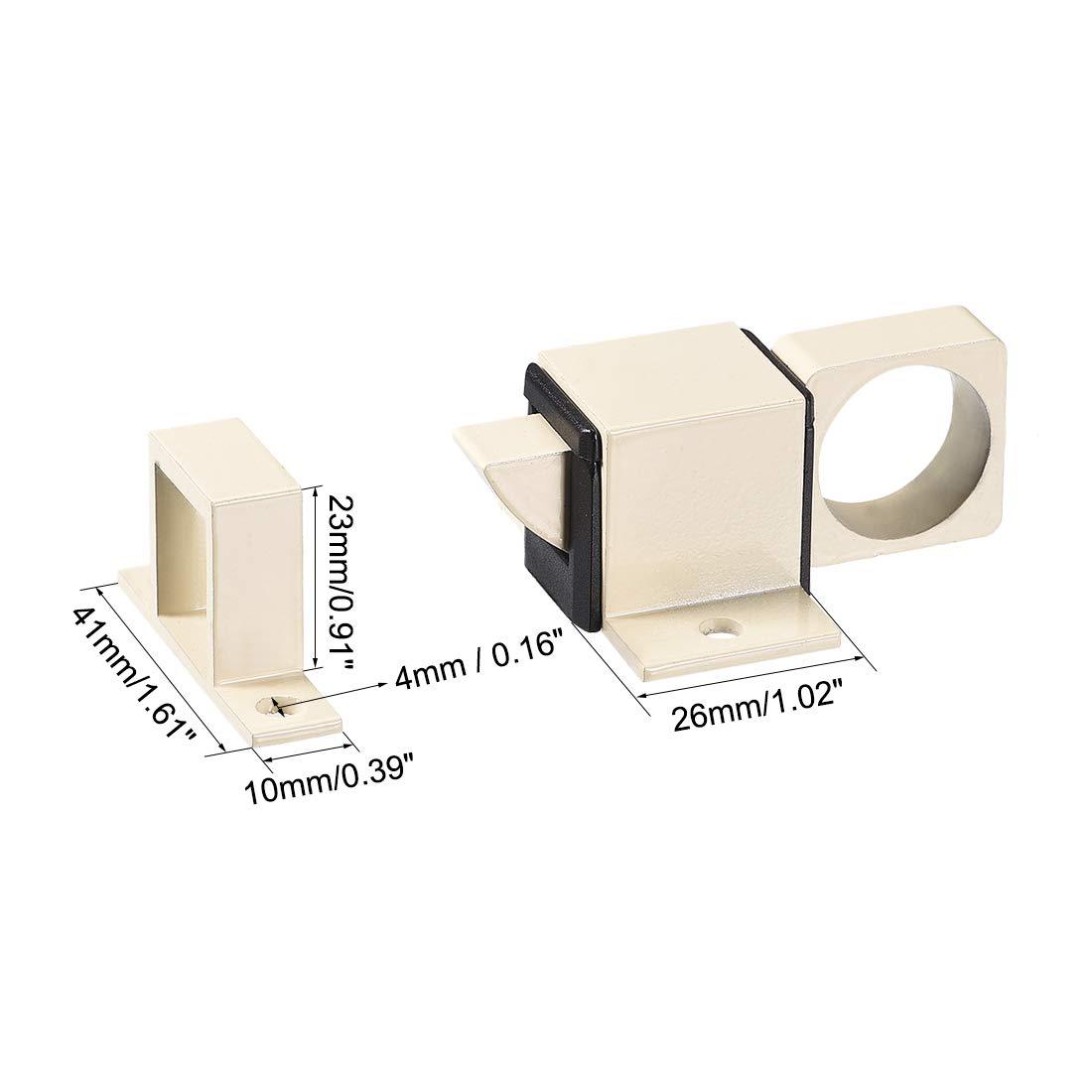 sourcing map Perno de Puerta negro Pestillo de seguridad de resorte de bloqueo de rebote autom/ático de ventana de aleaci/ón de aluminio 4 pcs
