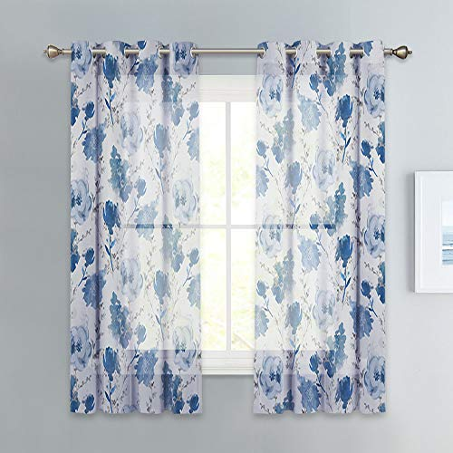 KGORGE Watercolor Semi Sheer Curtains for Bedroom, Classical Retro Ink Flower Painting on Gray Background Window Curtains, 52 inch Width x 63 inch Length, Federal Blue, 2 Panels (Federal Style Curtains)
