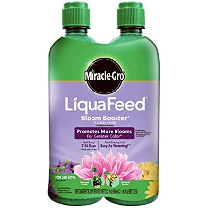 Miracle-Gro 1004043 LiquaFeed Bloom Booster Food Refill 2-Pack (Liquid  Plant Fertilizer Specially Formulated for Flowers), 2-16 OZ Bottles, Brown/A