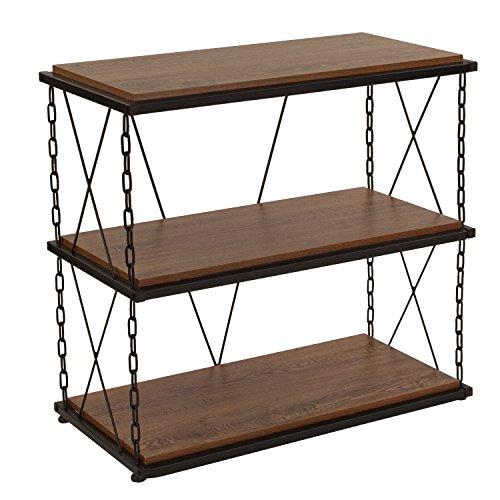 - Flash Furniture Vernon Hills Collection Antique Wood Grain Finish Two Shelf Bookshelf with Chain Accent Metal Frame
