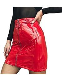 Women's PU Leather Mid Waist Mini A-Line Pencil Skirts Dress