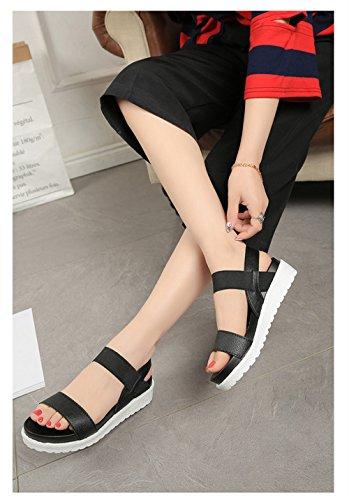 Donne 4cm Argento Pelle delle Piatto 40 Nero Estate Bianco 35 Caviglia Scarpe Metal Sandali Nero Toe Peep vOq5wfqpx