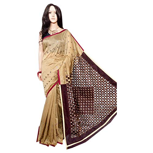 Mirror with with Foil Traditional Indian Dress Ethnic Work Cut Saree Sari Embroidery Women 127cm Hadloom Bengali Handmade R8XxwqXTv