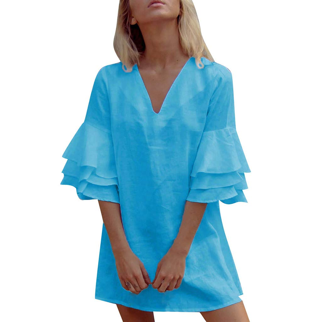 Dresses for Women Casual Ruffle Short Sleeve Mini Dress Solid V-Neck A-Line Dress (L, Blue)