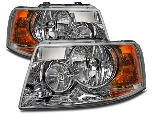 HEADLIGHTSDEPOT Compatible with Ford Expedition Halogen-Type Headlights Headlamps Pair New Set