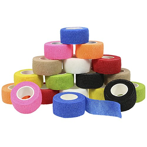 Chosky 18 Rolls Self Adherent Cohesive Wrap Bandages Self Adhesive Tape Elastic Athletic Sports Tape for Sports Sprain Swelling and Soreness on Wrist and Ankle 1 in X 5 Yards by Chosky