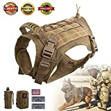 Hanshengday Tactical Dog Vest-Training Molle Harness-Tactical Dog Backpack-Pet Tactical -Vest Detachable Pouches-Relective Patches...