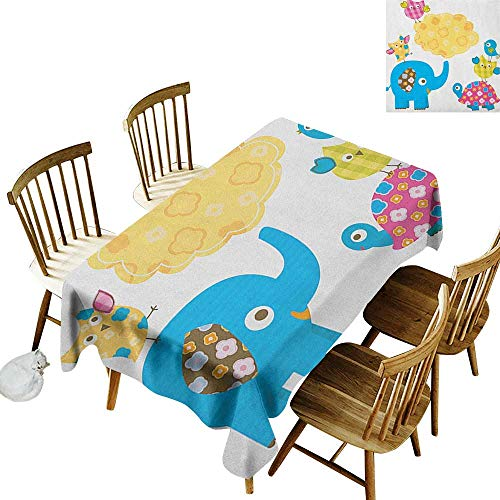 kangkaishi Washable Long Tablecloth Dinner Picnic Home Decor Diverse Cartoon Happy Animals Tortoise Elephant Lovely Yellow Cloud Drawing Style W54 x L108 Inch Multicolor