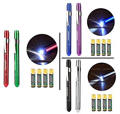 RISEMART LED Penlight Medical Reusable Healthcare Pen Light with Pupil Gauge for Nurses Doctors White 2PCS