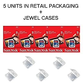 Lot of 5 SanDisk 16GB SD SDHC Class 4 Flash Memory Camera Card SDSDB-016G-B35 Pack + ( 5 Jewel Cases ) ... 109