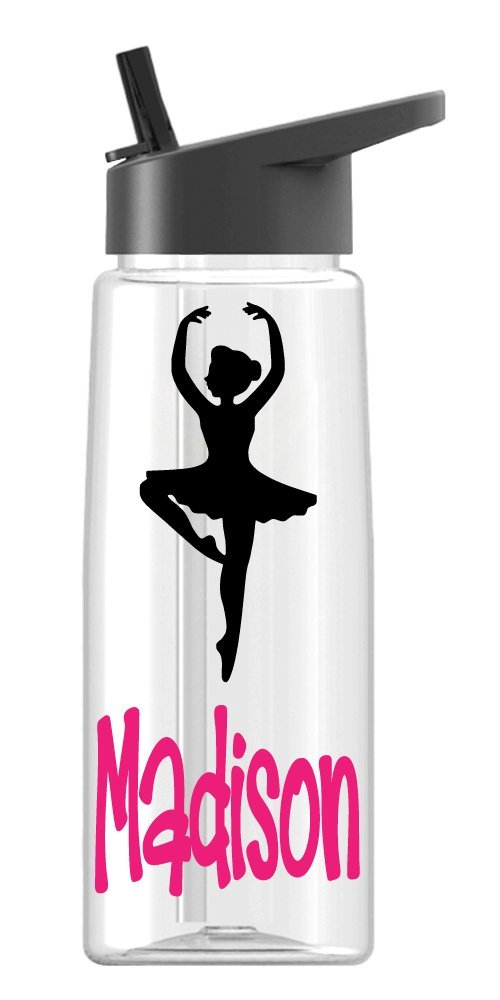Personalized Sport water bottle Ballerina design with name BPA Free 24 oz, clear or colored bottle