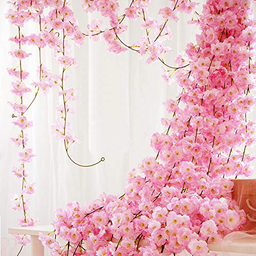 QC Life Artificial Cherry Blossom 4 Pack Garland Hanging Vine Silk Garland Flowers Hanging for Wedding Party Garden Wall Decoration(4 Pack) ()