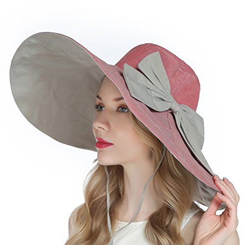 RIONA Women's UPF 50+ Foldable Floppy Reversible Wide Brim Sun Beach Hat with (Red Brush Cotton Hat)