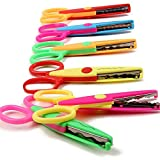 TOAOB Assorted Colors Plastic Safety Paper Wave Lace Edge Scissors for Kids Students Crafts 6 Pieces