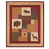 Decorative Throw Blanket, Quilted Patchwork Cotton, Hunter Hunting Cabin Wilderness Bears Moose Deer Pines, Big Sky. C & F Enterprises