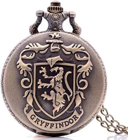 Antique Mens Pocket Watch,Cartoon Pocket Watch, Movie Pocket Watches for Kids, Christmas Birthday Gifts for Boys Girls (Bronze Gryffindor)