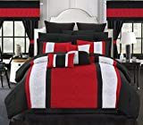 Chic Home 24 Piece Danielle Complete Pin Tuck Embroidery Color Block Bedding, King, Red