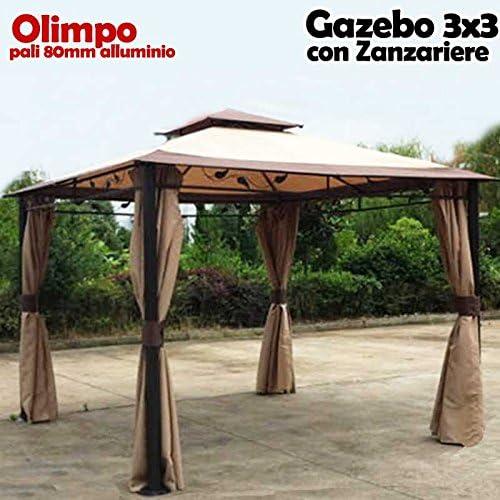 BAKAJI cenador de jardín 3 x 3 MT Modelo Olimpo Estructura de ...