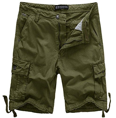 - WenVen Men's Active Cargo Shorts Cotton Outdoor Wear Lightweight (WV3229 Military Green,38)