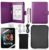 Llamamia Kindle Paperwhite Leather Case Cover+car Charger+cable+bag Sleeve+screen Protector+sparkle Bling Stylus Pen in Retail Packaging(purple), Best Gadgets