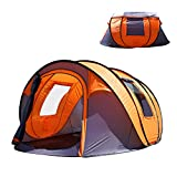 "Oileus CbMoun XL Pop Up Tents Camping 4-6 Person Tent Sky-Window(45""x 25"") Instant Camping Tent 14 Reinforced Steel Stakes & Carrying 114""L 78""W 51""H"