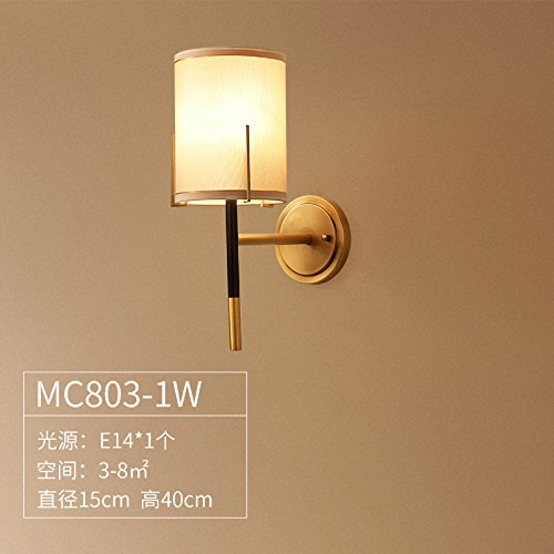 Wall lamp Bracket Light Sconces American Country Copper Bedroom Bedside lamp Mirror Headlight Nordic Simple Living Room Single Head Collection of Goods Without Light Source