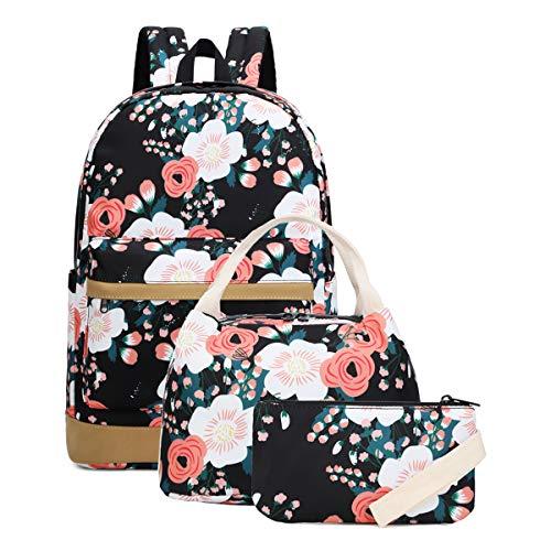 School Backpack for Teen Girls School Bags Lightweight Kids Girls School Book Bags Backpacks Sets (01 Black/Floral) ()
