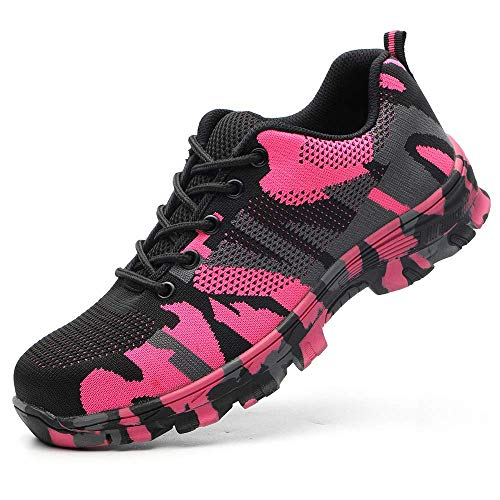 TRIFUNESS Work Steel Toe Shoes Lightweight Safety Shoes Indestructible Shoes for Men and Women Pink Camouflage