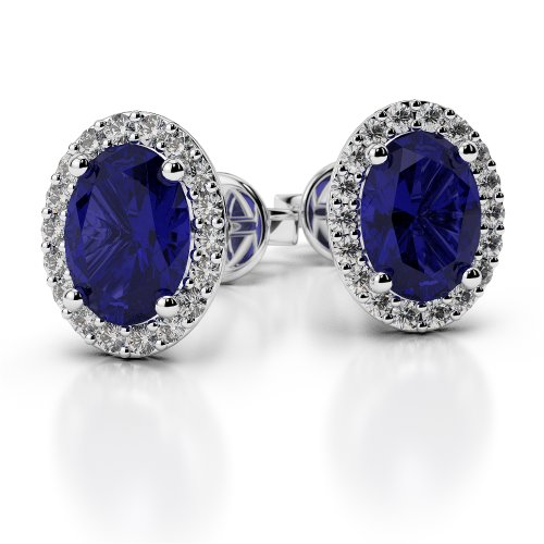 Oval Spinel Earrings - Sterling Silver Blue and Whit Sapphire Color Earrings (Oval)