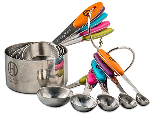 HARTMAN KITCHEN Measuring Cups & Spoons Set Of 10   Rust Proof Stainless Steel Scoops With Anti-Slip Colorful Silicone Handles   Stackable & Engraved Measurements For Dry Food & Liquids   Bonus Opener