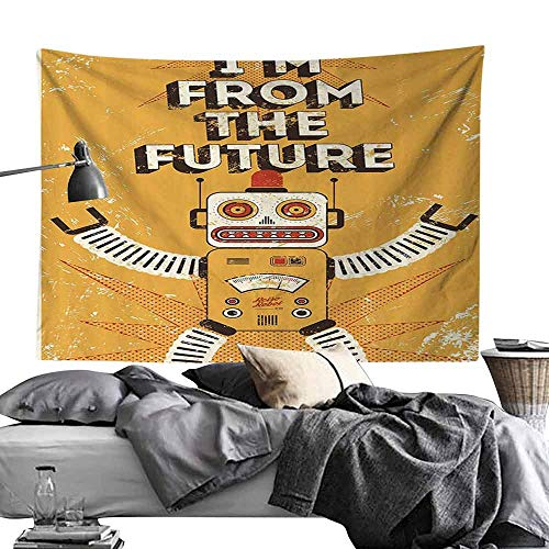 Homrkey Smooth and Smooth Tapestry Vintage Decor Future Quote with Robot Figure Fiction Electronic Pop Art Style Illustration Wall Hanging W60 x L40 Mustard