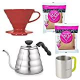 Hario Coffee Dripper VDC-02R V60 Ceramic Red+Drip Kettle Buono VKB-120HSV 1.2 L+Paper Filter Natural VCF-02-100M Set of 2 Pack (Total 200 Sheets)+Original Stainless Steel Mugs