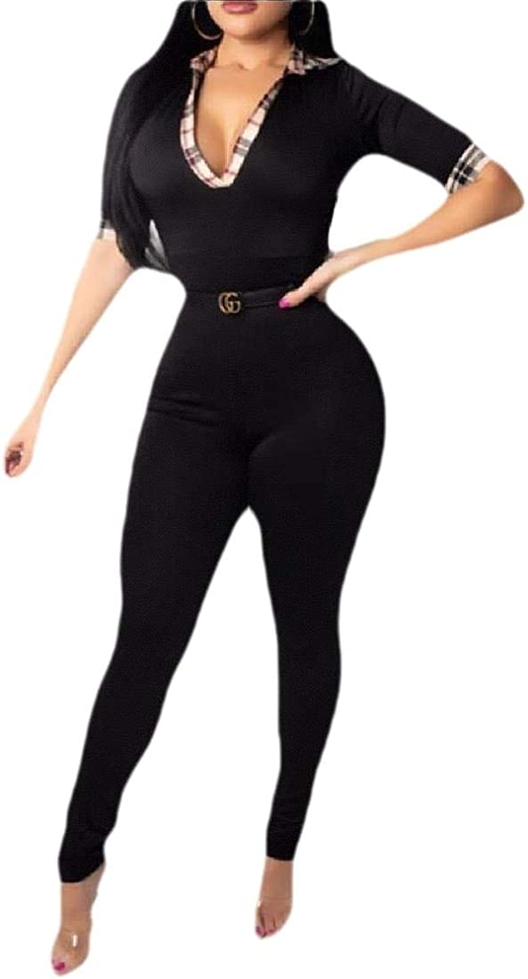 heymoney Womens Deep V Neck Casual Slim Fit Rompers Stretchy Pants