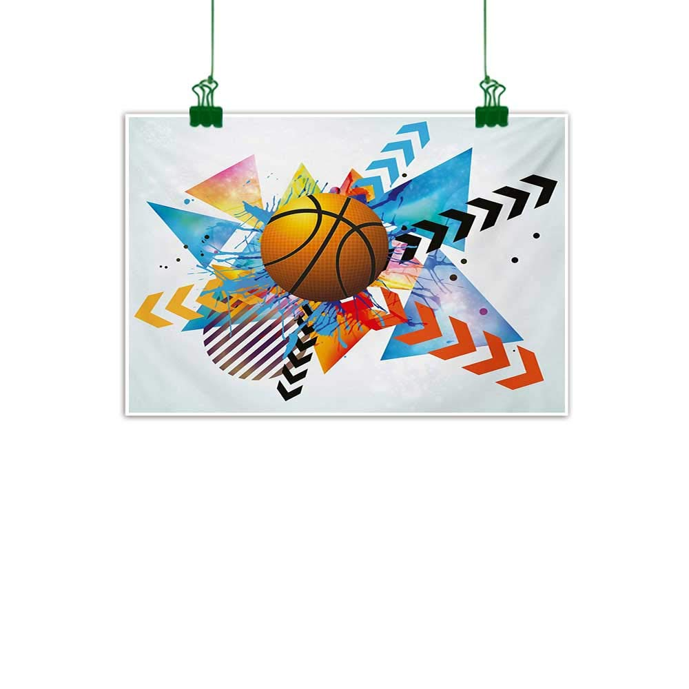 Wondrous Teen Room Abstract Art Basketball In Front Of Zigzag Circular Geometric Minimalist Forms Graphic Print Wall Decor For Home Office Decorations Download Free Architecture Designs Ogrambritishbridgeorg