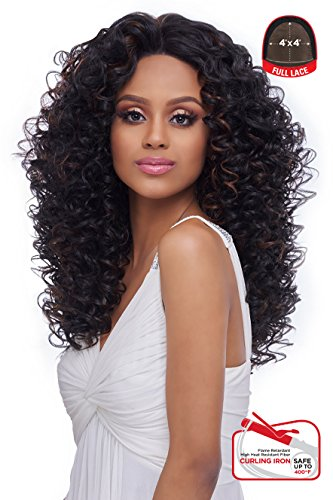 4x4 MULTI PARTING LACE WIG WITH SILK BASE, NATURAL CURLY , Multi-Direction Part (FLS09) (1-JET BALCK) ()