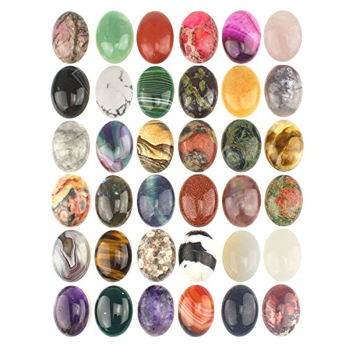 Wholesale Gemstone Mix Kinds of Jasper Agate Oval Shape Cabochon CAB Flatback, DIY Jewelry Accressory (25x18mm 15pcs)