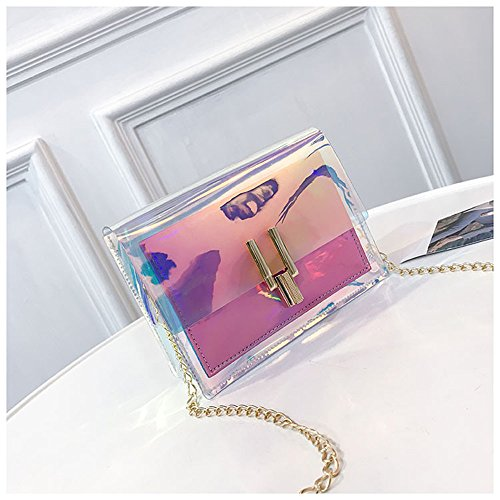 Rrock Bolso Femenino Bolsa De Jalea Láser Bolsa De Mensajero Hombro Paquete De Decoloración De Color Transparente,Blue Pink