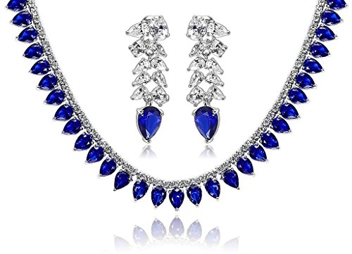 KnSam Women Platinum Plate Waterdrop Blue Necklace Earrings Set Crystal [Novelty Bridal Jewelry Set] by KnSam