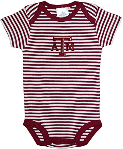 (Texas A&M University Aggies Striped Newborn Baby Bodysuit,Maroon,0-3 Months)
