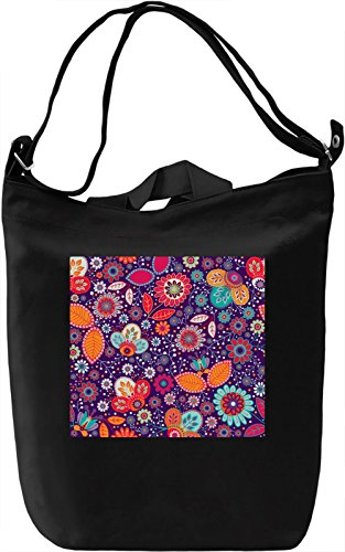 Flowers Pattern Borsa Giornaliera Canvas Canvas Day Bag| 100% Premium Cotton Canvas| DTG Printing|