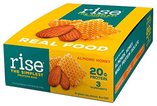 Rise Bar Non-GMO, Gluten Free, Soy Free, Real Whole Food, Whey Protein Bar (20g), No Added Sugar, Almond Honey High Protein Bar with Fiber, Potassium, Natural Vitamins & Nutrients 2.1oz, (12 (Foods Almond)