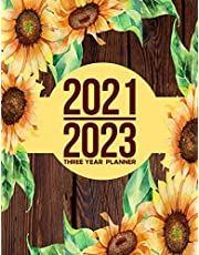 2021-2023 Three Year Planner: 3 Year Planner With Wooden Wood Rustic Sunflower Yellow Flower Cover (Jan 2021- Dec 2023)