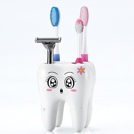 Soporte para cepillos de dientes, Woopower Creative Cartoon forma de 4 agujeros dientes Vaso para