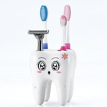 Soporte para cepillos de dientes, Woopower Creative Cartoon forma de 4 agujeros dientes Vaso para cepillos de dientes, accesorio de baño: Amazon.es: Hogar