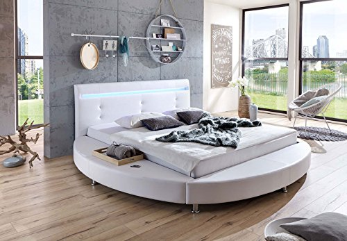 SAM® Design Rundbett Bebop 180 x 200 cm Bett in weiß mit intergrierter Beleuchtung LED Kopfteil abgesteppt mit Chromfüßen auch als Wasserbett verwendbar