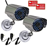 VideoSecu 2 Pack Bullet Outdoor CCTV Infrared Day Night Vision Security Cameras Weatherproof 520TVL High Resolution 36 IR LEDs for DVR Home Surveillance with Power Supplies IR808HN WK8