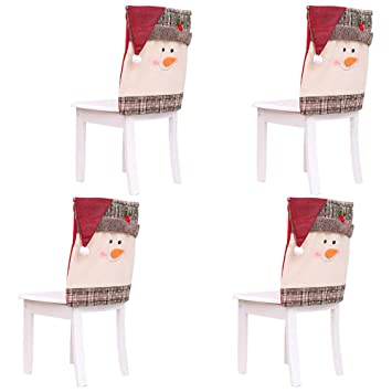Scorpiuse Christmas Decorations Set Of 4 Dining Chair Back Covers Snowman With Red Hat Xmas
