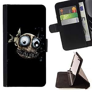 For Samsung Galaxy S6 Active G890A Case , Diseño Fish Evil- la tarjeta de Crédito Slots PU Funda de cuero Monedero caso cubierta de piel