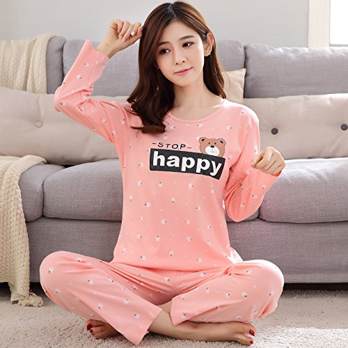 Amazon.com: MH-RITA Ladies spring set pajamas, pure cotton long sleeves: Clothing