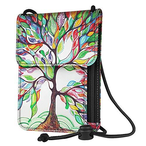 Mikash Neck Pouch PU Leather Travel Passport Holder ID Cards Cash Wallet Cellphone Bag   Model TRVLWLLT - 126  
